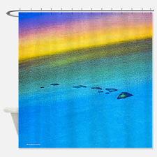 Hawaiian Islands From Space Sunset Shower Curtain.
