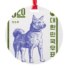 Vintage 1962 Korea Jindo Dog Postag Ornament
