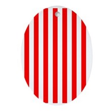 Red and White Striped Oval Ornament