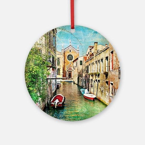 Vintage Venice Photo Round Ornament