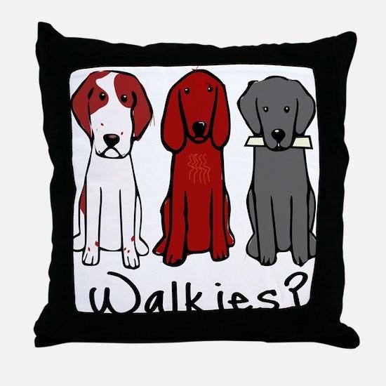 Walkies? (Three dogs) Throw Pillow