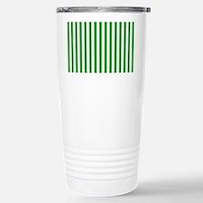 Green and White Stripes Travel Mug