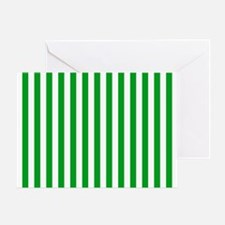 Green and White Stripes Greeting Card