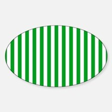 Green and White Stripes Sticker (Oval)