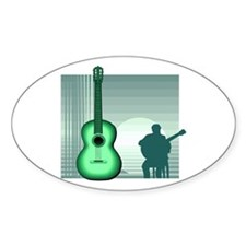 acoustic guitar player sitting green Decal