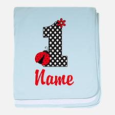 1st Birthday ladybug baby blanket