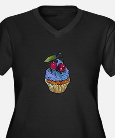 Venom Cupcak Women's Plus Size Dark V-Neck T-Shirt