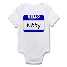 hello my name is kitty  Infant Bodysuit