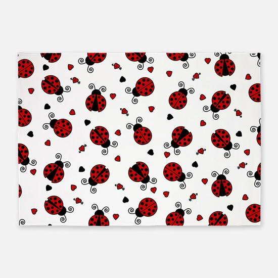 Cute Red Ladybug and Hearts Print 5'x7'Area Rug