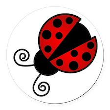 Red Ladybug 1 Round Car Magnet