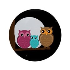 "Family of Owls 3.5"" Button (100 pack)"