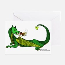 Flamin' Green Dragon Greeting Cards (Pk of 10)