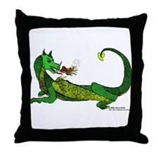 Flamin' Green Dragon Throw Pillow
