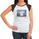 Lilies (6) & Bichon Women's Cap Sleeve T-Shirt
