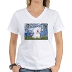Lilies (6) & Bichon Women's V-Neck T-Shirt