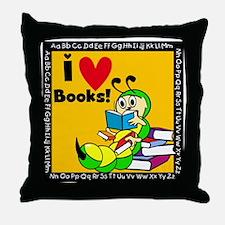 Book Worm I Love Books Throw Pillow