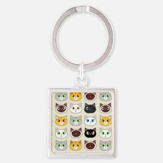 Cattitude - Cute Cat Expressions Pattern Keychains