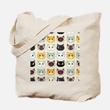 Cattitude - Cute Cat Expressions Pattern Tote Bag