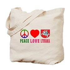 Peace Love Lithuania Tote Bag
