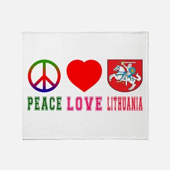 Peace Love Lithuania Throw Blanket