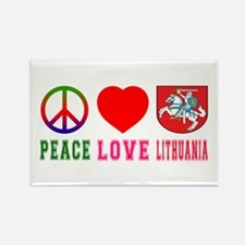 Peace Love Lithuania Rectangle Magnet