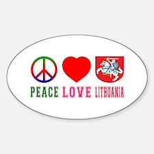 Peace Love Lithuania Sticker (Oval)