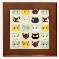 Cattitude - Cute Cat Expressions Pattern Framed Ti