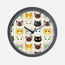 Cattitude - Cute Cat Expressions Pattern Wall Cloc