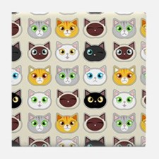 Cattitude - Cute Cat Expressions Pattern Tile Coas