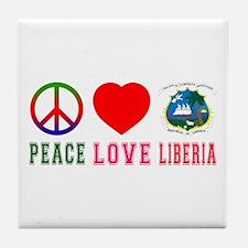 Peace Love Liberia Tile Coaster