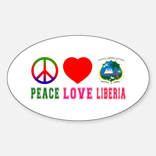 Peace Love Liberia Sticker (Oval)