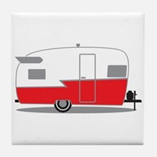 Unique Vintage travel trailer Tile Coaster