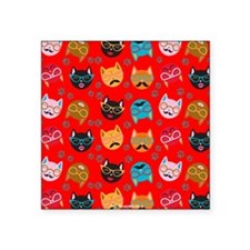 Cute Cat Mustache and Lips, Red Square Sticker 3""