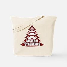 Funny Mustache Christmas Tree Tote Bag