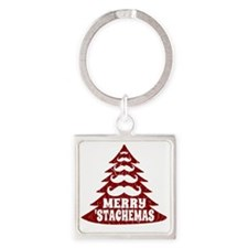 Funny Mustache Christmas Tree Square Keychain