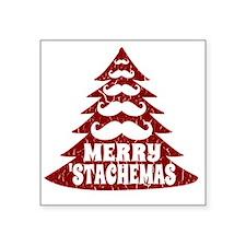 """Funny Mustache Christmas Tr Square Sticker 3"""" x 3"""""""