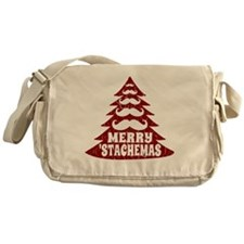 Funny Mustache Christmas Tree Messenger Bag