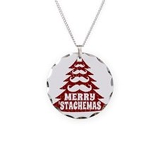 Funny Mustache Christmas Tre Necklace