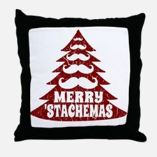 Funny Mustache Christmas Tree Throw Pillow