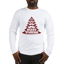 Funny Mustache Christmas Tree Long Sleeve T-Shirt