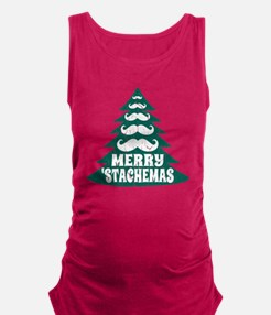 Funny Green Mustache Christmas  Maternity Tank Top