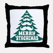Funny Green Mustache Christmas Tree Throw Pillow