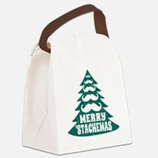 Funny Green Mustache Christmas Tr Canvas Lunch Bag