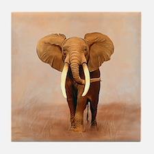 Painted Elephant Tile Coaster