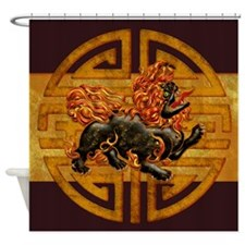 Harvest Moons Foo Dog Shower Curtain