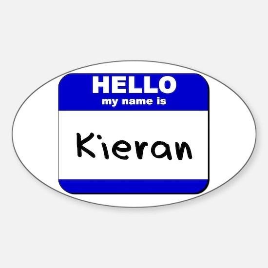 hello my name is kieran Oval Decal