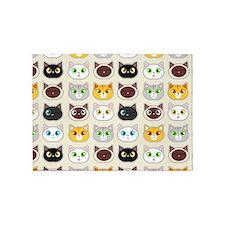 Cattitude - Cute Cat Expressions Pattern 5'x7'Area