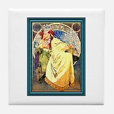 Mucha Art Nouveau Framed Tile Coaster