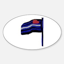 TILED LOOK LEATHER FLAG Oval Decal