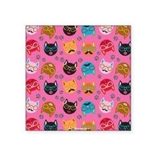 Cute Cat Mustache and Lips, Pink Square Sticker 3""